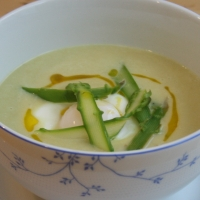 Asparagus and Leek Soup with Poached Egg