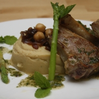 Lamb Chops with Chickpea Mash and Caramelised Onions
