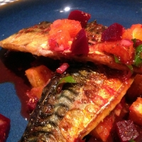 Mackerel with Harissa, Beetroot, Orange and Preserved Lemon