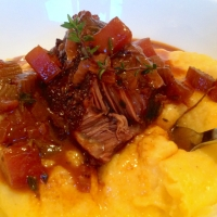 Slow cooked Ox-Cheeks with creamy polenta