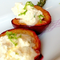 Rosemary Roasted Plums with Lime Mascarpone