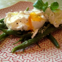 Warm Runner Bean Salad with Poached Egg