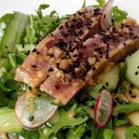 Seared Tuna with Rocket and Cucumber Salad, and a Soy and Ginger Dressing