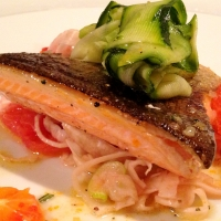 Pan Fried Trout with Fennel and Orange Salad, Courgette Ribbons and Rosemary Orange Butter